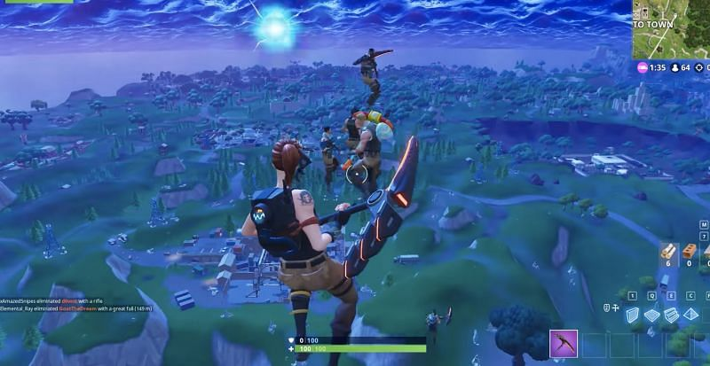 A group of players falling before being eliminated (Image via YouTube)