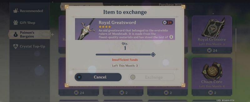 Royal Greatsword from Starglitter shop in Genshin Impact