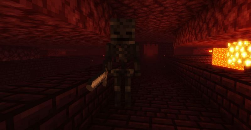 Shown: A Wither Skeleton found in a Nether Fortress