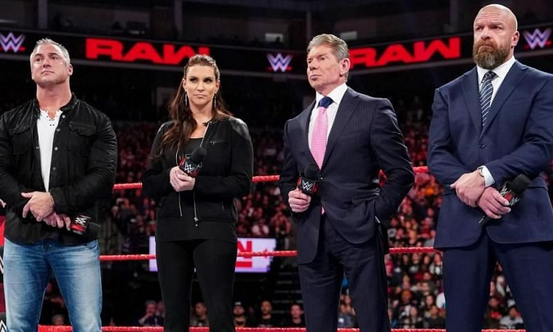 The McMahon family and Triple H on Monday Night RAW