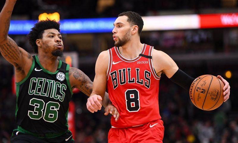 Zach LaVine of the Chicago Bulls and Marcus Smart of the Boston Celtics