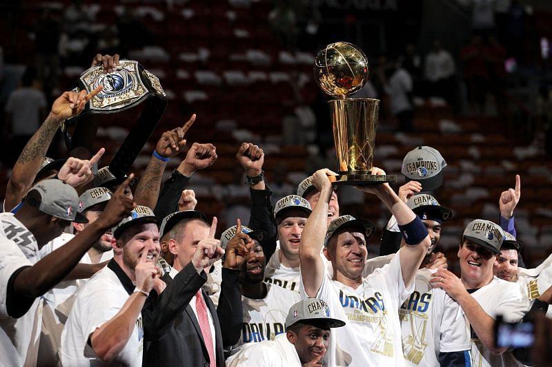 The Dallas Mavericks celebrate after winning the 2011 NBA title.