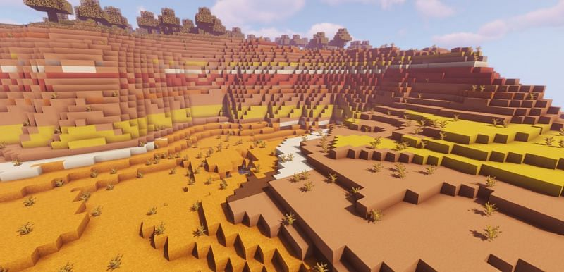 Shown: Tons of Terracotta found in a Badlands biome (Image via Minecraft)