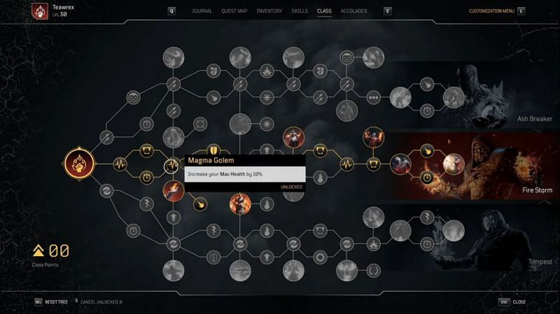 Outriders Pyromancer Skill Tree progression (Image via TheTeaWrex)