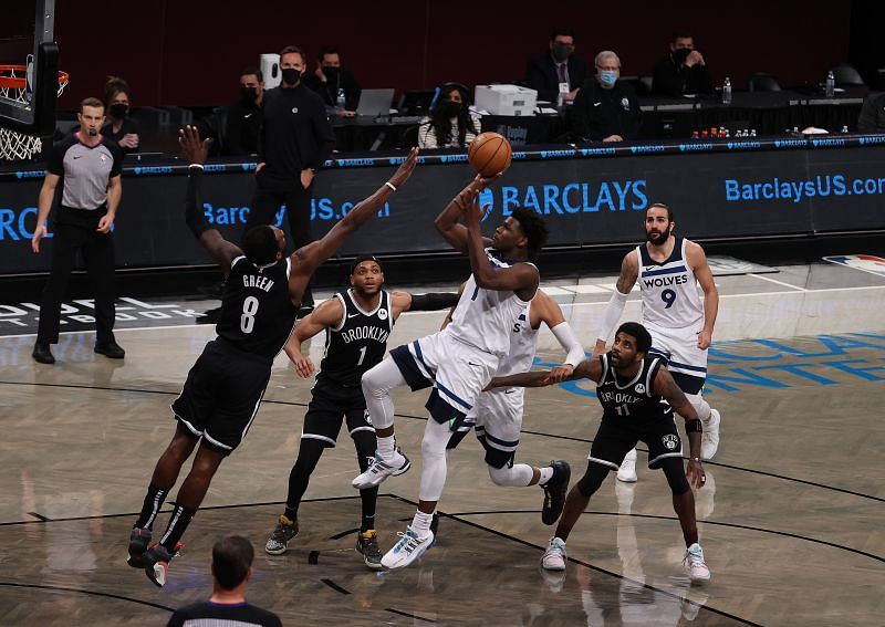 Anthony Edwards sinks floater against Brooklyn
