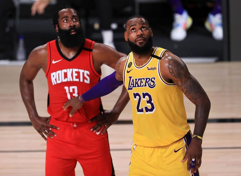 James Harden and LeBron James in the 2020 NBA Playoffs