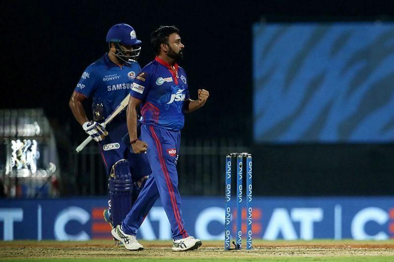 Amit Mishra celebrates dismissing Rohit Sharma in match 13 of IPL 2021. Pic: IPLT20.COM