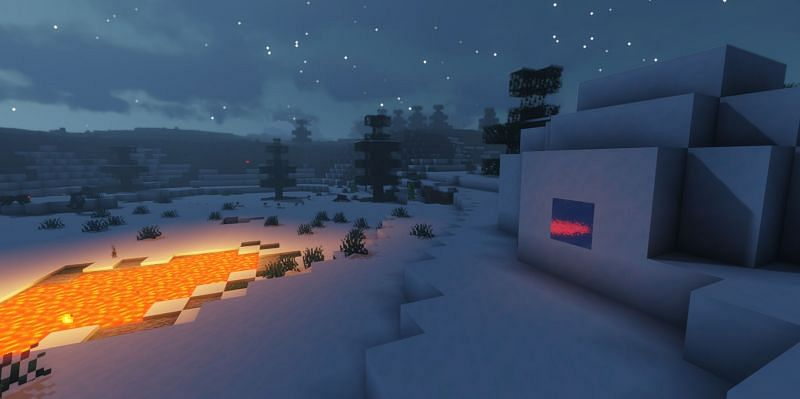 Shown: An Igloo next to a naturally spawning Lava pool (Image via Minecraft) Enter caption