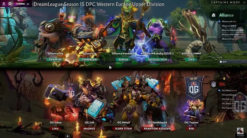 The match 2 draft (Image via DreamLeague)