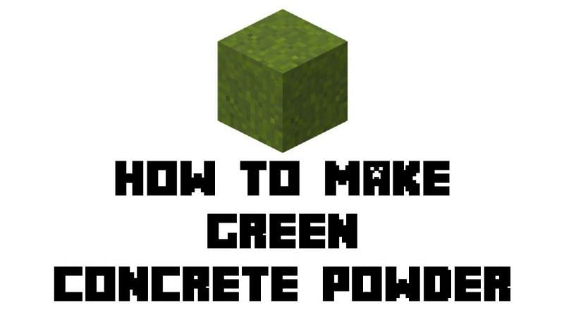 Players can create green concrete powder using green dye in Minecraft (Image via MCBasic on Youtube)
