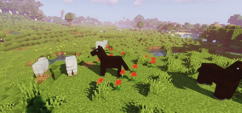 A beautiful plains biome with a dark brown horse herd (Image via Minecraft)