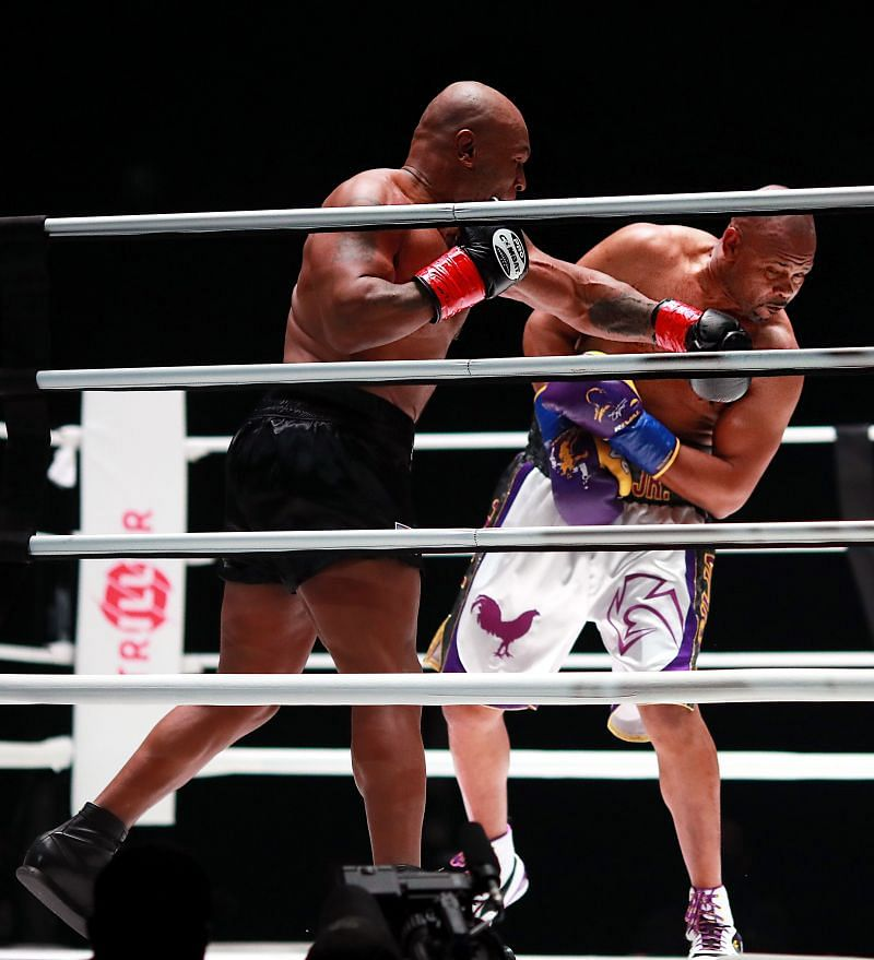 Mike Tyson punching Roy Jones Jr. in the mouth