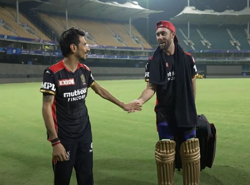 Yuzvendra Chahal (left) and Glenn Maxwell