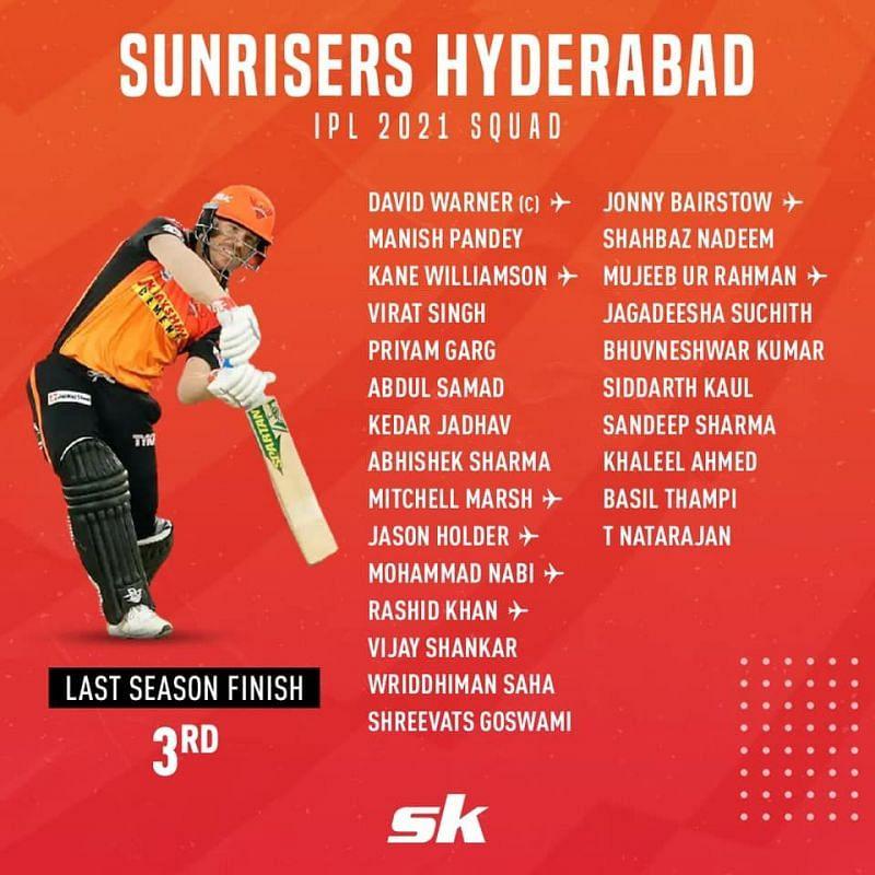 SRH 2021 players list