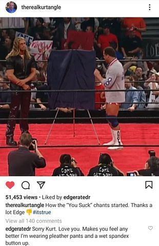 Edge apologizes to Kurt Angle
