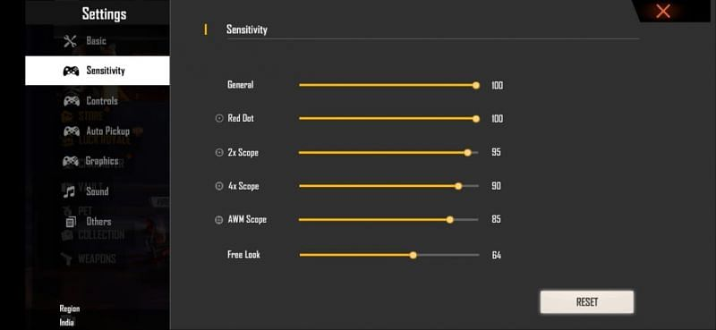 Best headshot sensitivity settings for rush gameplay in Free Fire