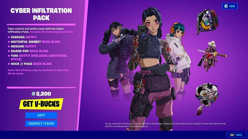 Cyber Infiltration pack costs 2,200 V-Bucks (Image via Fortnite, Epic Games)