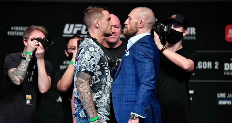 Dustin Poirier and Conor McGregor during UFC 257 pre-fight press conference