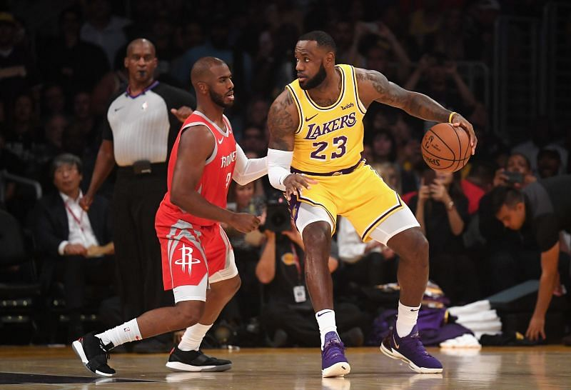 Chris Paul (L) and LeBron James (Rare prolific playmakers.