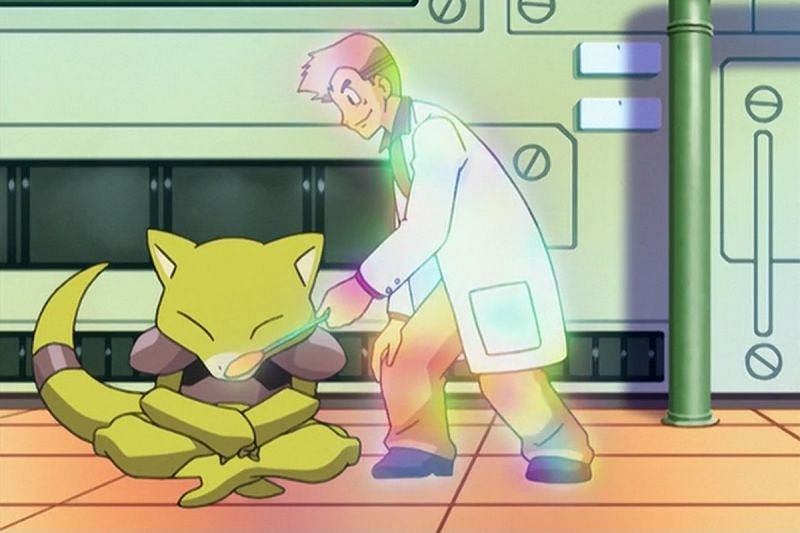 Abra removing Professor Oak from its personal space (Image is The Pokemon Company)