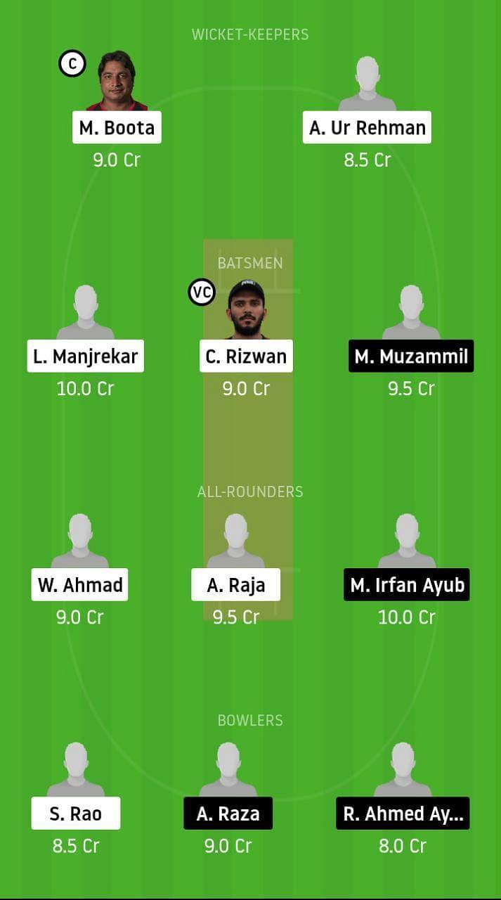 EMB vs ABD Dream11 Emirates D10 2021 Team