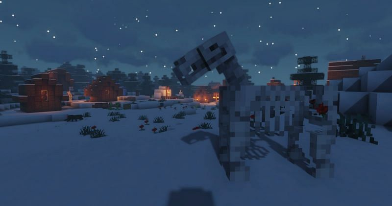 A Skeleton Horse watching over a village (Image via Minecraft)