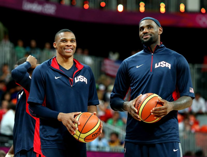Russell Westbrook (L) and LeBron James (R)