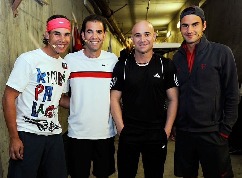 (From L to R) Rafael Nadal, Pete Sampras, Andre Agassi and Roger Federer