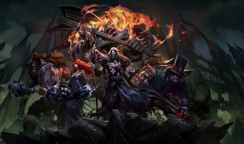 The fictional PENTAKILL band featuring Yorick, Karthus, Sona, Mordekaiser, Kayle, and Olaf (Image via Riot Games - League of Legends)