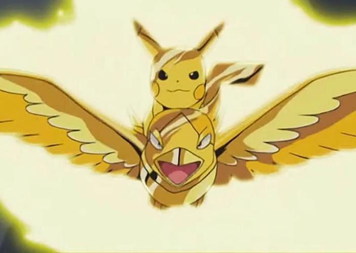 Pokemon using Thunder in the anime (Image via The Pokemon Company)