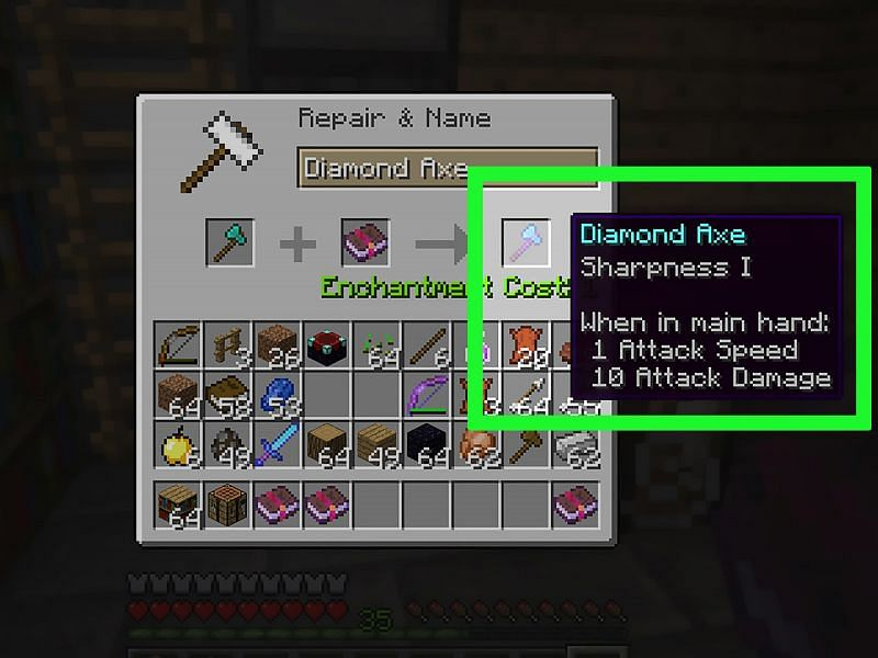 The Sharpness enchantment in Minecraft (Image via wikihow)
