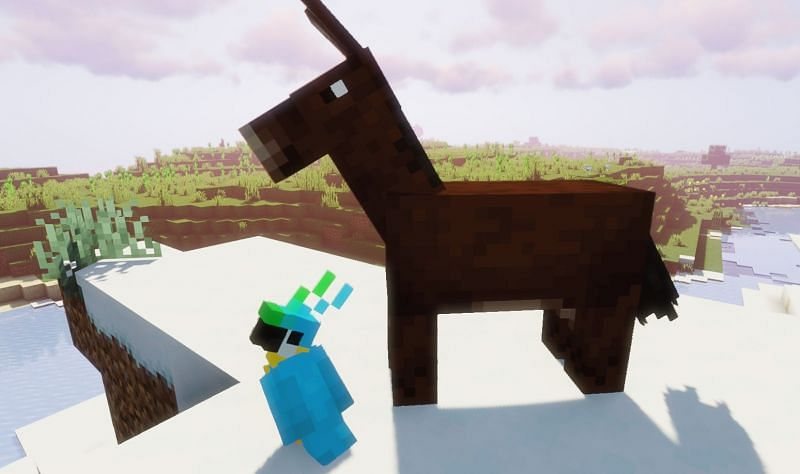 Shown: A Mule and his Parrot friend (Image via Minecraft