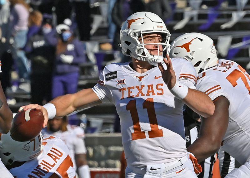 Texas quarterback Sam Ehlinger throws a pass against Kansas State.