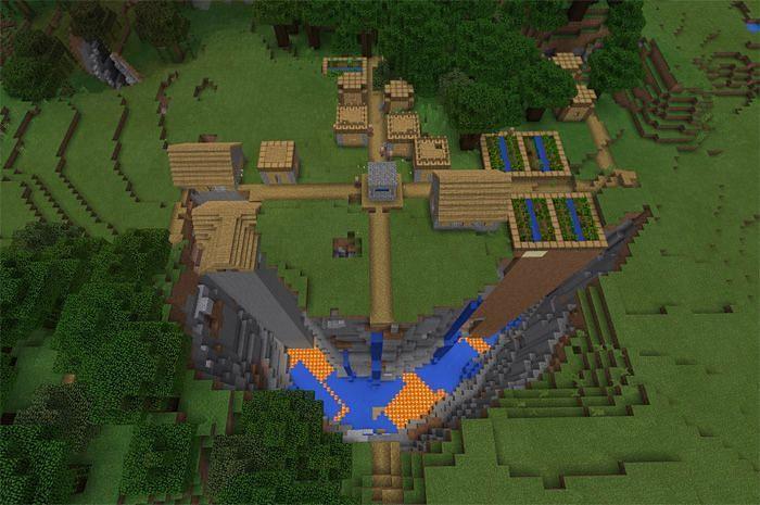 A village next to a Minecraft ravine (Image via mcpedl)