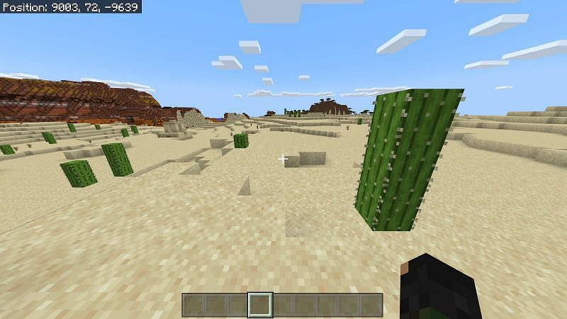 If you are gathering sand in a desert it should take no time at all to find cactus. You can find cactus in deserts and badlands biomes.