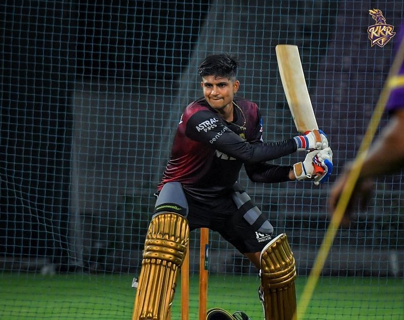 Shubman Gill practices the switch hit. Pic: KKR