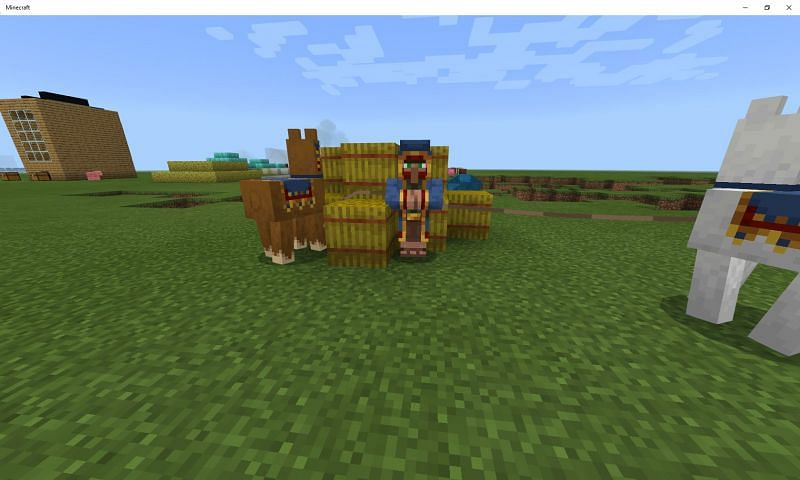 Feeding these Minecraft mobs hay bales will put them in love mode (Image via Mojang)