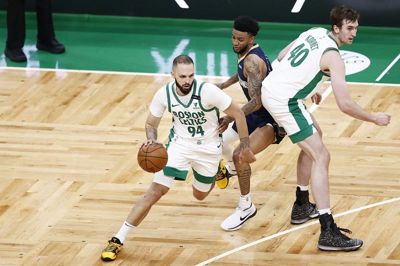 Evan Fournier (with ball) with the Boston Celtics will be available in 2021 NBA free agency.