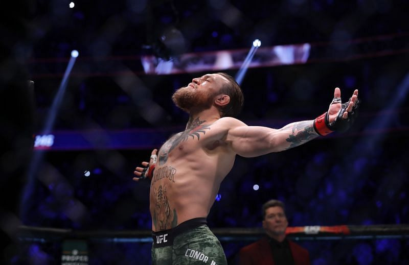 McGregor in the T-Mobile Arena for his return fight against 'Cowboy' Cerrone