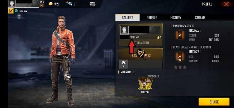 खिलाड़ी को निचे Free Fire ID दिख जाएगी