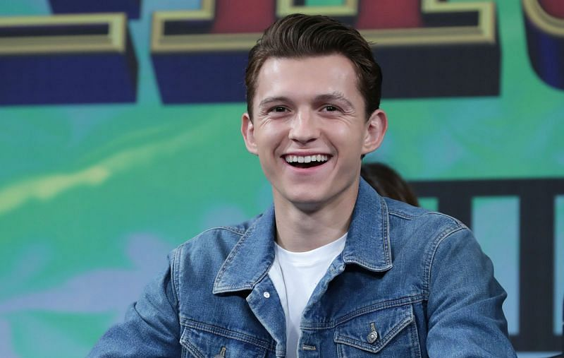 Tom Holland attends the press conference for