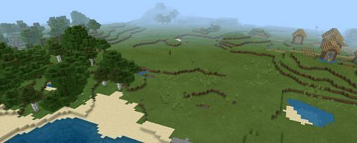 The spawn of seed 8634, where village can be seen in the distance (Image via digminecraft)