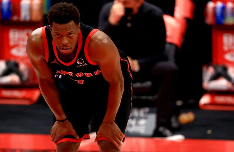 Kyle Lowry #7 looks on during a game against the Suns.