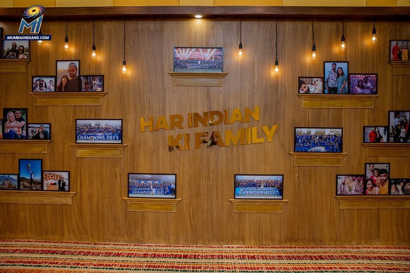 Family Wall in the Mumbai Indians Team Room