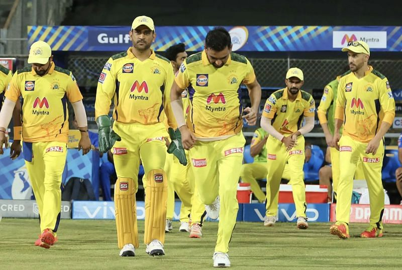 MS Dhoni leads the CSK side out at the start of the match (Photo: BCCI)