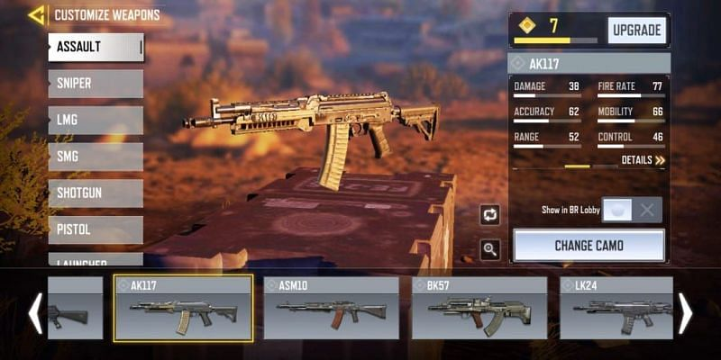 AK117 with in-game stats (Image via Activision)