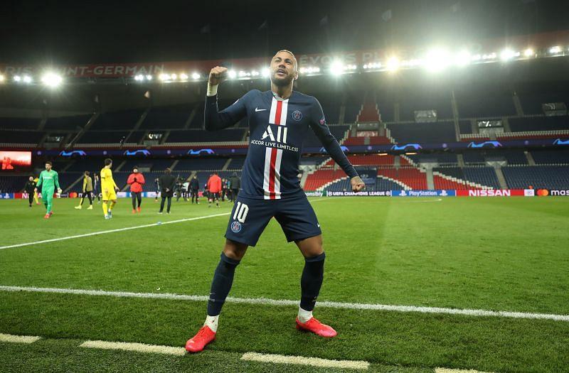 Neymar celebrates a Paris Saint-Germain win