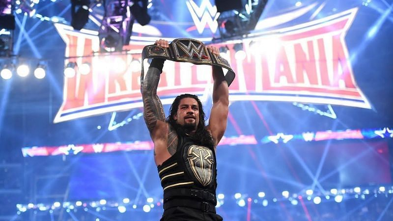 Roman Reigns with the WWE Championship at WreslteMania 32