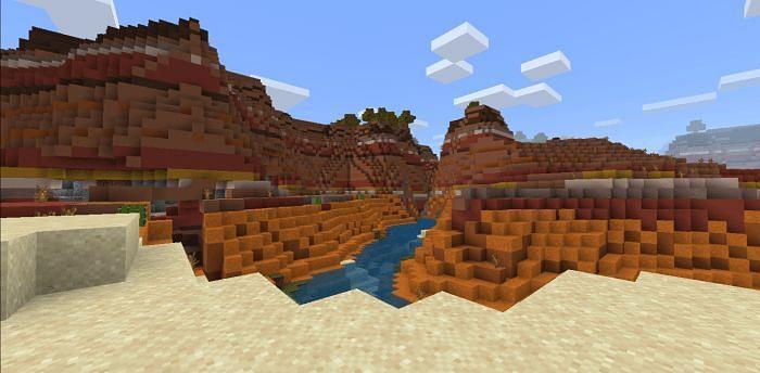 Badlands biome in Minecraft (Image via mcbedrock)