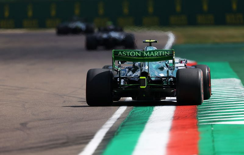 Aston Martin AMR21 on track during practice ahead 2021 Imola GP. Photo: Bryn Lennon/Getty Images.